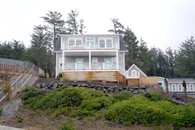 Seaview Cottage and its ocean view decks as seen from below.